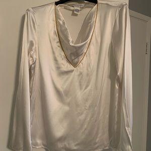 Doncaster white silk blouse, V neck gold NWT M